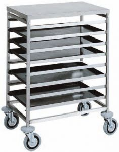 CA1483 Stainless steel Tray rack trolley for bakeries 8 board 60x40