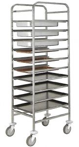 CA1650 Stainless steel tray-holder trolley 10 pans GN 1/1 h65 or 10 trays 60x40