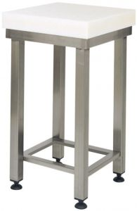CCP8004 Bloque de polietileno de 8 cm con taburete de acero inoxidable 70x70x88h