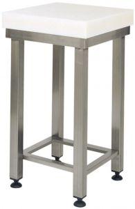 CCP8006 Bloque de polietileno de 8 cm con taburete de acero inoxidable 100x50x88h