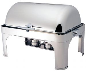 CD6502 Polished stainless steel Rectangular chafing dish with roll top lid 180°