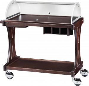 CL 2260 Wooden service trolley 2 shelves plx dome 106x55x110h
