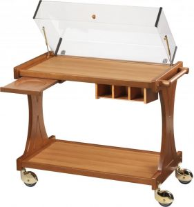 CL 2351W Wooden trolley for cakes cheese with dome Wengè 106x55x95h
