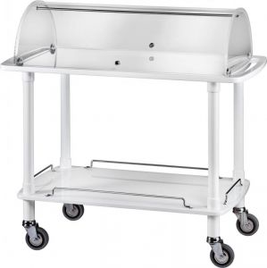 CLC 2012B White wooden trolley 2 shelves with plexiglass dome