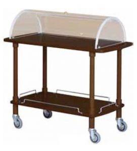CLC 2012W Carrito de servicio de madera Wengé cupula plexiglass 2 pisos
