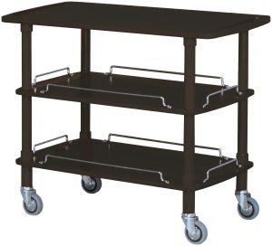 CLP 2003N Carrito de madera negro 3 estantes 110x55x89h