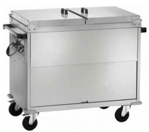 CT1770 Carrello bagnomaria acciaio inox AISI 304 armadiato coperchio 3x1/1GN 130x68x102h