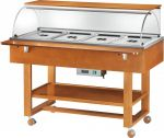 TELC 2834 Hot display case bain marie cart wood (+30°+90°C) 4x1/1GN