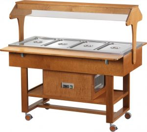 ELR2825 Refrigerated walnut display stand on canopy wheels (+ 2 ° + 10 ° C) 4x1 / 1GN
