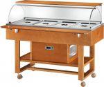 ELR2826 Carrello espositore legno refrigerato (+2°+10°C) 4 1/1GN cupola/pianetto