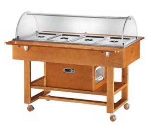 ELR2827BT Carretilla refrigerada de madera (-5°+5°C) 4x1/1GN cúpula plx