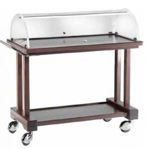 LPC 1000W Wooden service trolley with dome Wengé 2 shelves 115x55x108h
