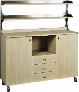 ML3214SS Service cabinet low oak large shelf brackets