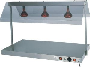 PCI4712  Plateau chauffé acier inox avec 2 lampes à infrarouges 85x64x80h