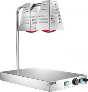 PCI4717 Piano caldo in acciaio inox con 2 lampade raggi infrarossi 60x40x68h