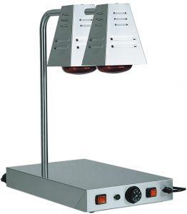 PCI4718D Plateau chauffant inox avec deux lampes à infrarouges 58x33x68h