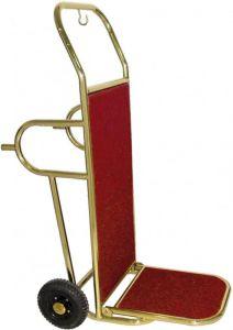 PV2002 Carro porta maletas 2 ruedas y pies de apoyo acero laton
