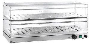 VBR4756 Vitrine chauffée à poser 2 etageres acier inox 50x35x25h