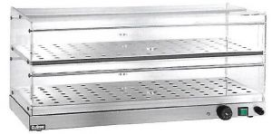 VBR4786 Vitrine chauffée à poser 2 etageres acier inox 85x35x25h