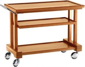 LP850 Carrello servizio legno massello tinto noce 3 piani 81x55x82h