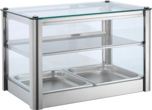 VKB52N Neutral countertop display cabinet 2 TOPS in stainless steel sheet