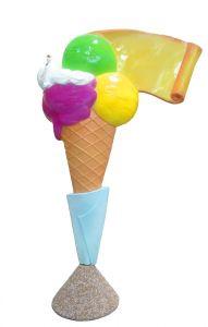 EG011A Crème glacée avec parchemin - Cône publicitaire 3D pour glacier, hauteur 150 cm