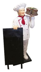 ER005A Chef with cake three-dimensional high 140 cm