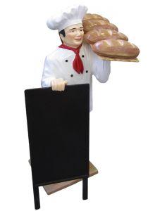 ER005B Chef with bread three-dimensional high 140 cm