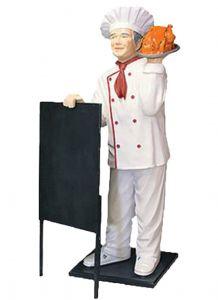 ER005D Cocinero con plato con pollo en tres dimensiones alto 140 cm