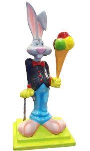 SG085 Conejo con helado - Conejo 3D publicitario para heladería, altura 170 cm