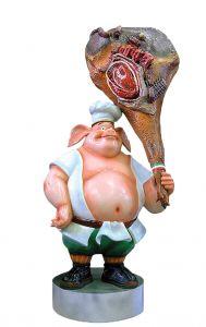 Jamón SR004 con cerdo - Jamón publicitario 3D para gastronomía, altura 205 cm
