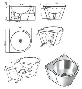 LX3550 Professional waxed washbasin with bracket in AISI 304 stainless steel - satin finish