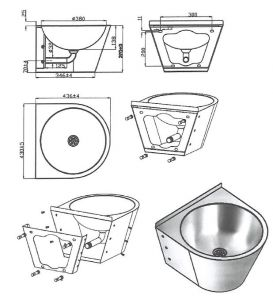 LX3560 Professional waxed washbasin with bracket in AISI 304 stainless steel - glossy finish