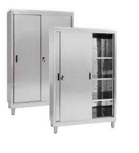 IN-690.12.50 Wardrobe with 2 Sliding Doors - Inox 304 - dim 120 x 50 x 200 H