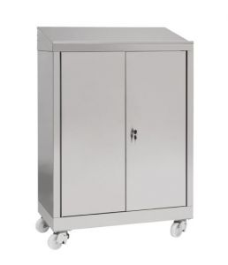 IN-699.04.430 Desk unit with 2-door trolley unit in AISI 430 steel - dim. 80x40x115 H