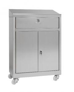 IN-699.04.430C Bureau armoire à 2 portes armoire avec tiroir en AISI 430 - dim. 80x40x115 H