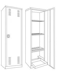 IN-Z.694.10 Armoires pour pesticides au zinc plastifié 60x45x200 H