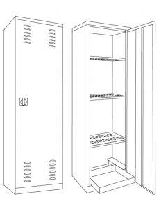 IN-Z.694.11 Armoire pour produits phytosanitaires revêtus de zinc 100x45x200 H