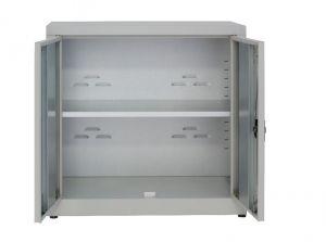 IN-Z.694.15 Armoire de rangement basse en plastique à 2 portes avec zinc laminé 100x40x80 H