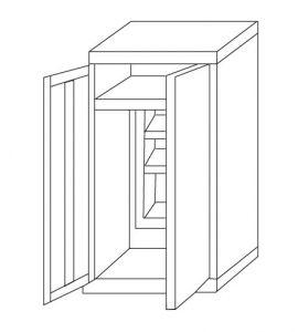 IN-Z.696.02 Support pour applique murale zingué à 2 portes  80x40x180 H