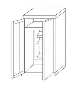 IN-Z.696.02.50 Support pour applique murale zinguée à 2 portes, 80x50x200 H