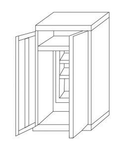 IN-Z.696.03 Armoire à portes coulissantes en plastique zingué à 2 portes - 100x40x180 H