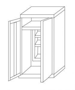 IN-Z.696.03.50 Armoire à portes coulissantes en plastique zingué à 2 portes - 100x50x200 H