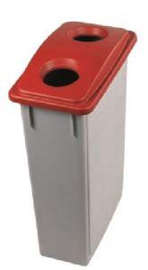 T102207 Gettacarte Polipropilene Grigio con coperchio Rosso 2 Fori 90 litri