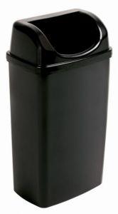 T907501 Waste bin with slot lid black polypropylene 50 liters