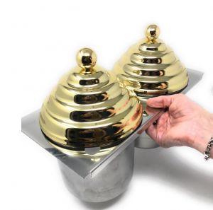 VGCV-2MINI-G Kit 2 mini-carapine avec couvercles de pyramide SIMIL-GOLDEN à insérer dans une vitrine de crème glacée