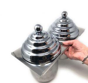 VGCV-2MINI-C Kit 2 mini-carapine avec couvercles pyramidaux SIMIL-CHROMED à insérer dans la vitrine de la crème glacée