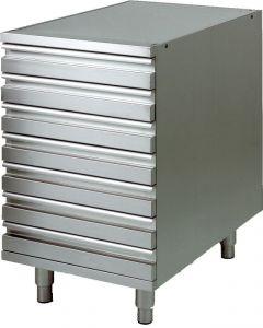 Cajonera CAS7 con marco de acero inoxidable AISI 304 para recipientes de masa de pizza