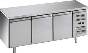 G-GN3100TN-FC Comptoir réfrigéré en acier inoxydable AISI201, 3 portes