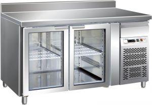 G-GN2200TNG - Mesa de acero inoxidable ventilada con soporte vertical Temp. -2 / + 8 ° C 3 Puertas de cristal